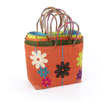 Einkaufstasche Raphia mit Blumenmuster