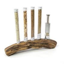 Holzständer für Glasröhrchen und Stossmühle Rebholz poliert